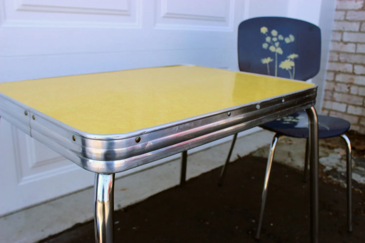 Vintage Retro Childrens Formica Yellow Chrome Table and Blue