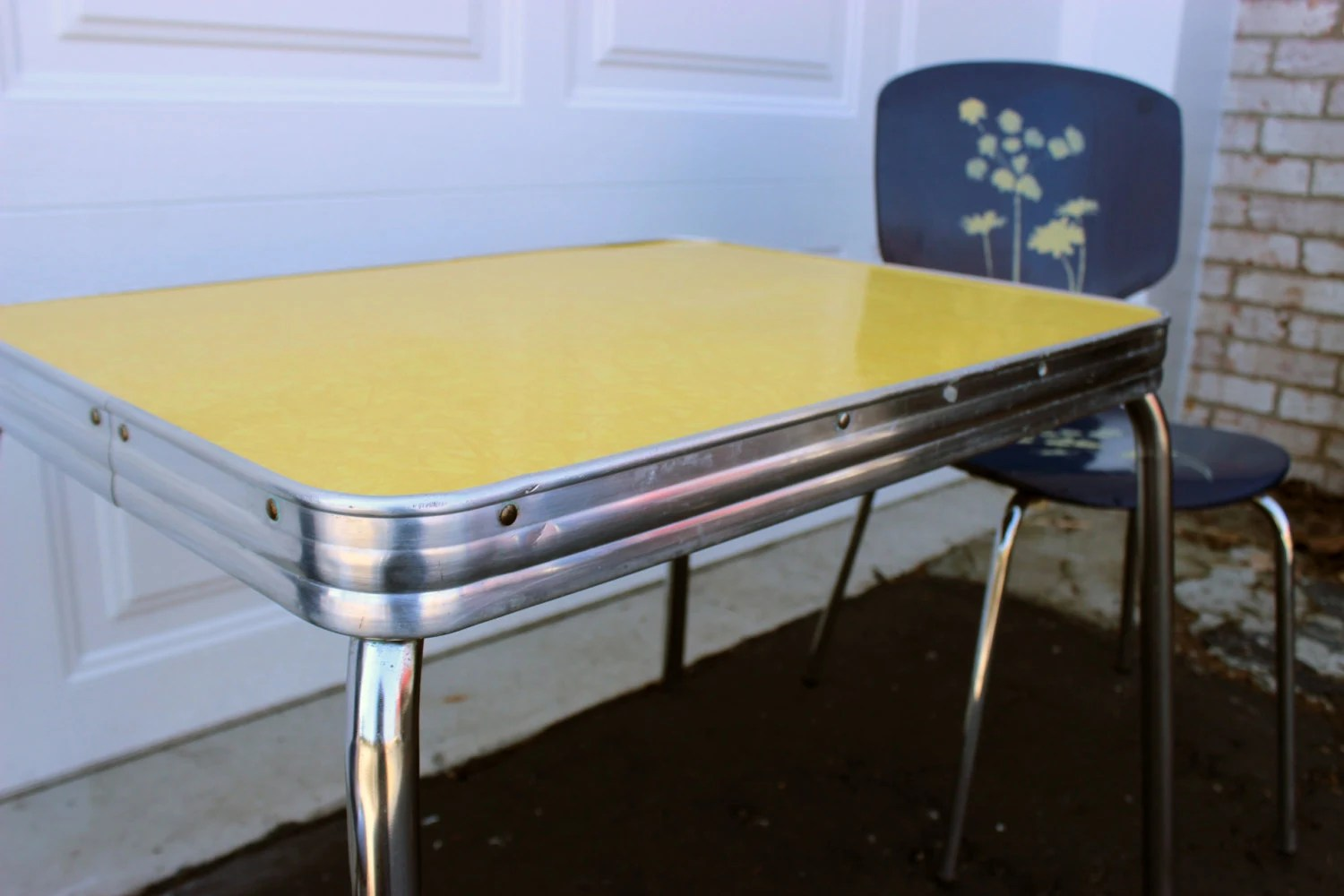 1950 s yellow formica table and chairs ghost arm chair vintage retro childrens chrome blue