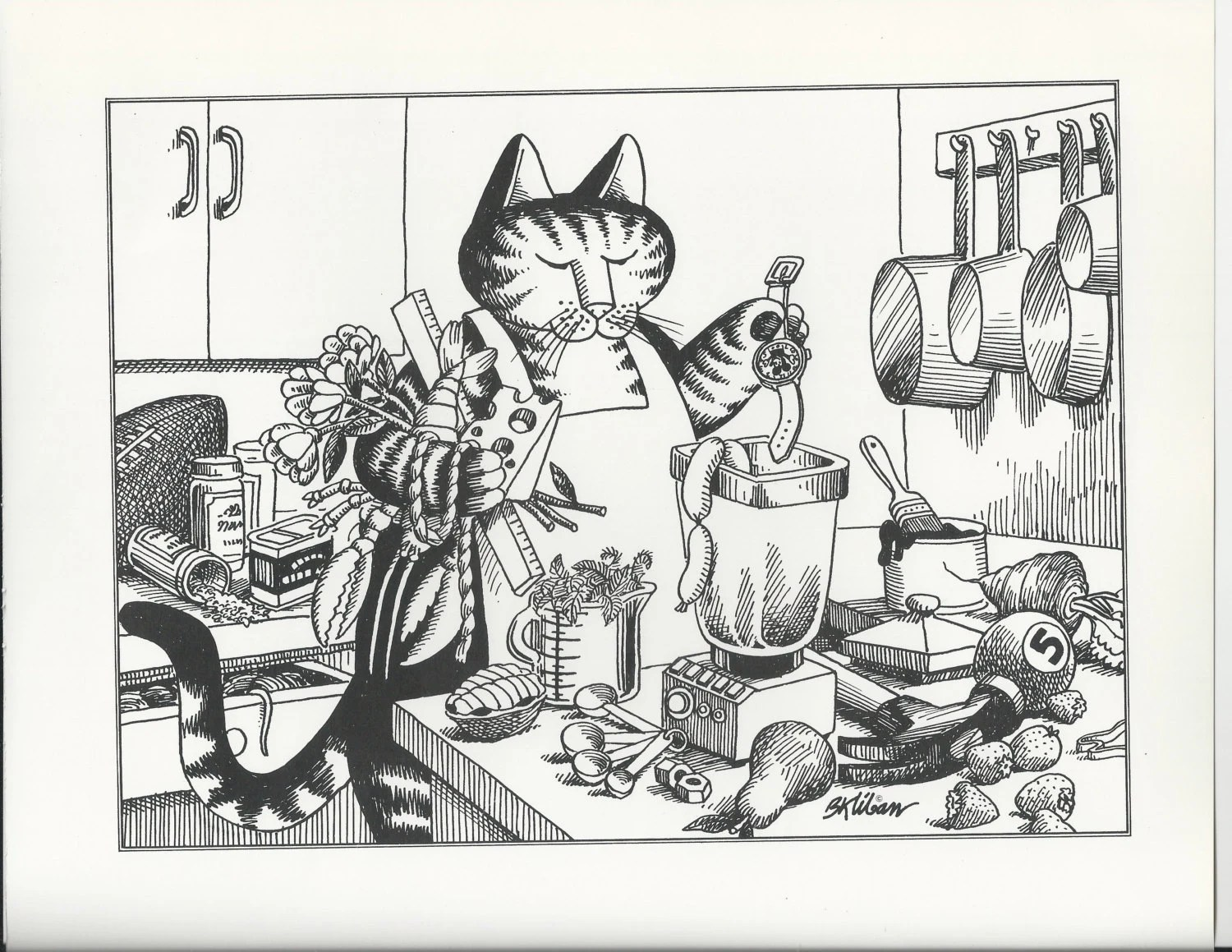 B Kliban Cat Original Vintage Art Print Cooking Chef Kitchen