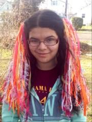 shorter rainbow sherbet yarn hair