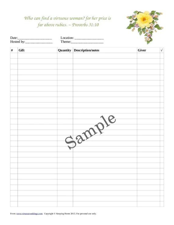 Wedding Shower Gift Record Template ~ Lading for