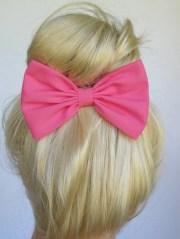 hot pink hair bow clip handmade