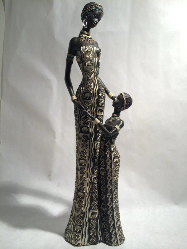 African Woman And Child Statue Kenyan Tribal Art Doll