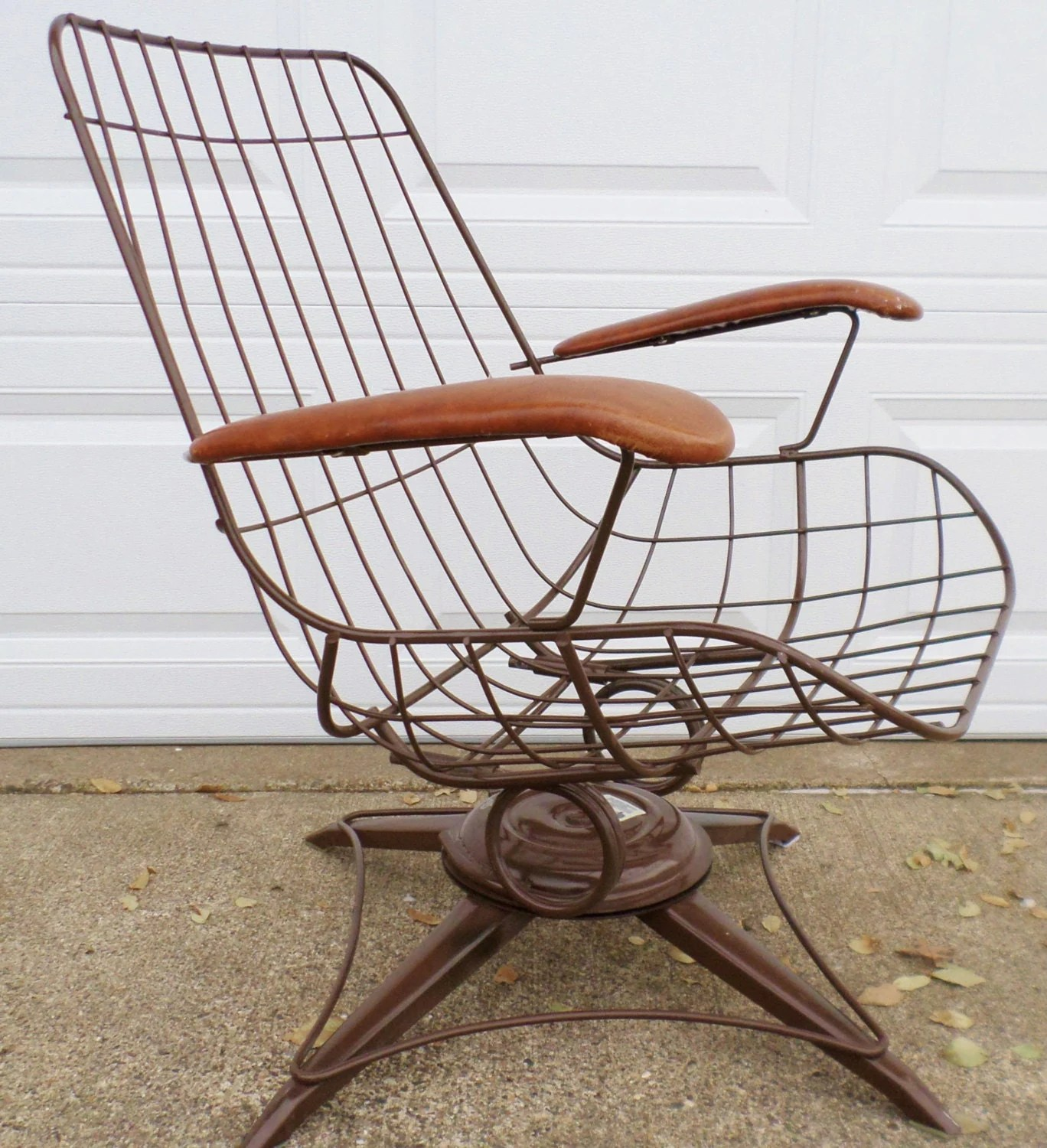 mid century modern wire chair front porch rocking chairs vintage eames era brown