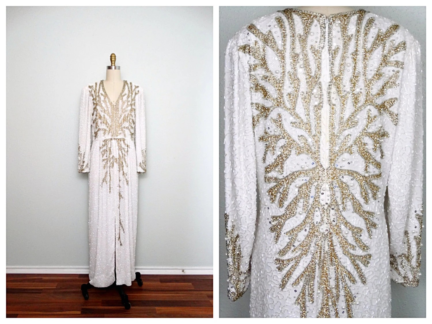 Gold & Silver Pearl Beaded Gown // White And Gold Beaded Dress