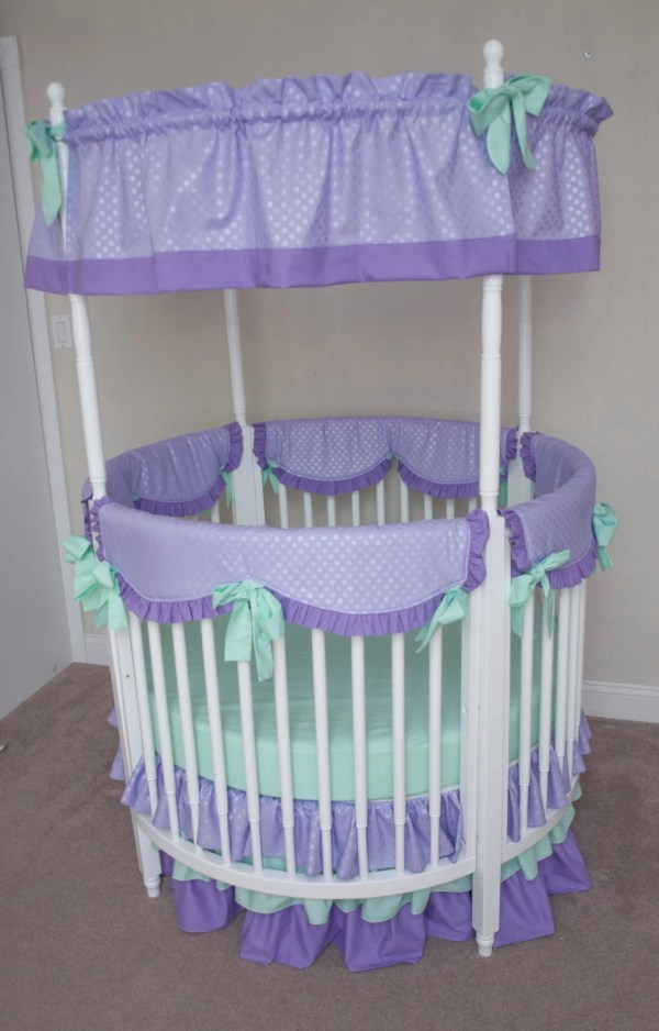 Crib Bumperless Mint And Lavender Purple Designer Baby