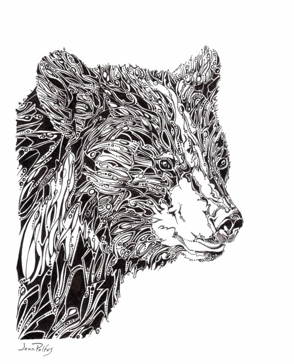 Black Bear Potrait Unique Line Drawing Wildlife Artwork
