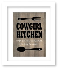 Cowgirl Kitchen Art Print Western Decor Kitchen Art