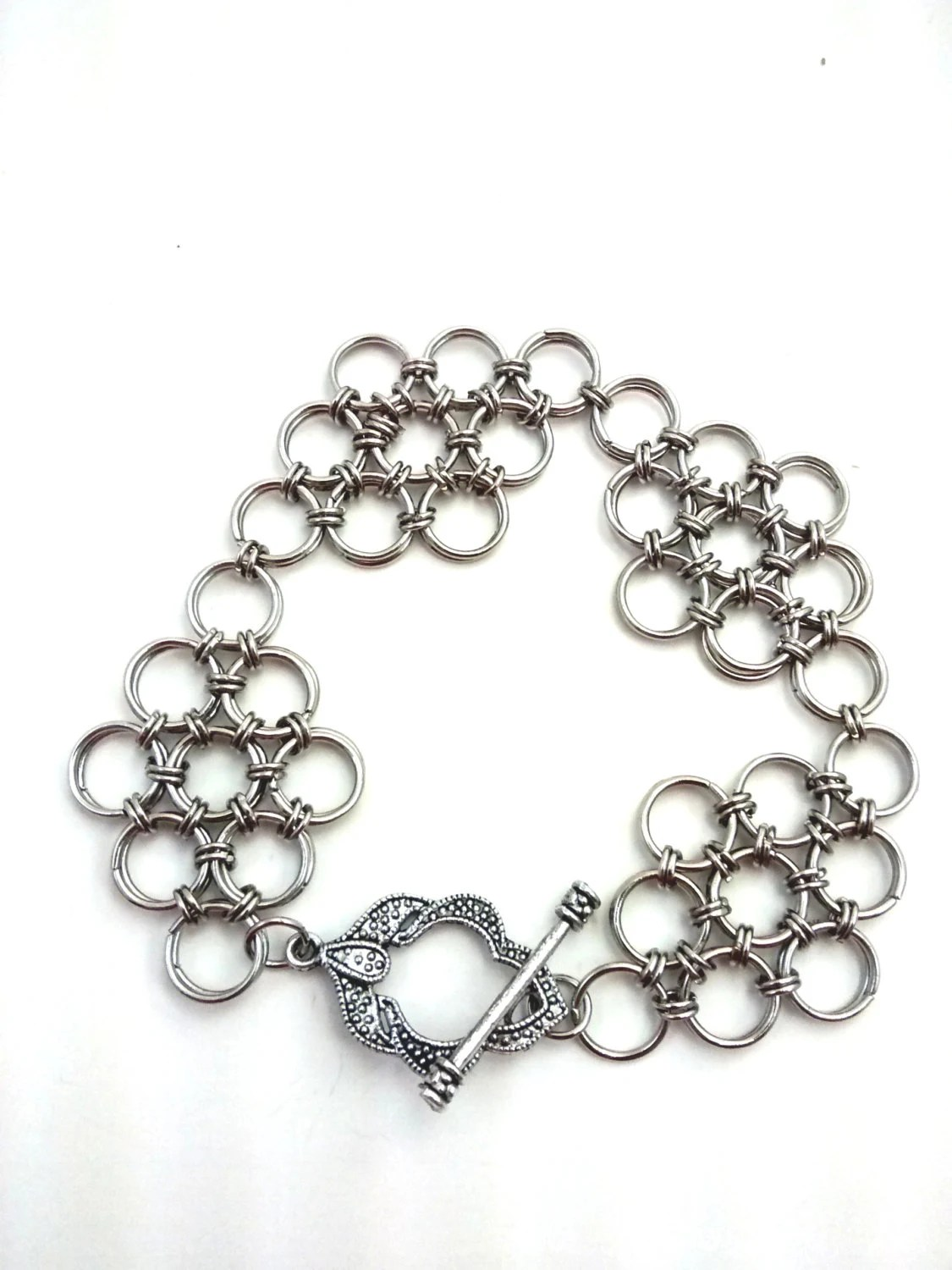 Items similar to Silver Japanese chainmail diamond weave