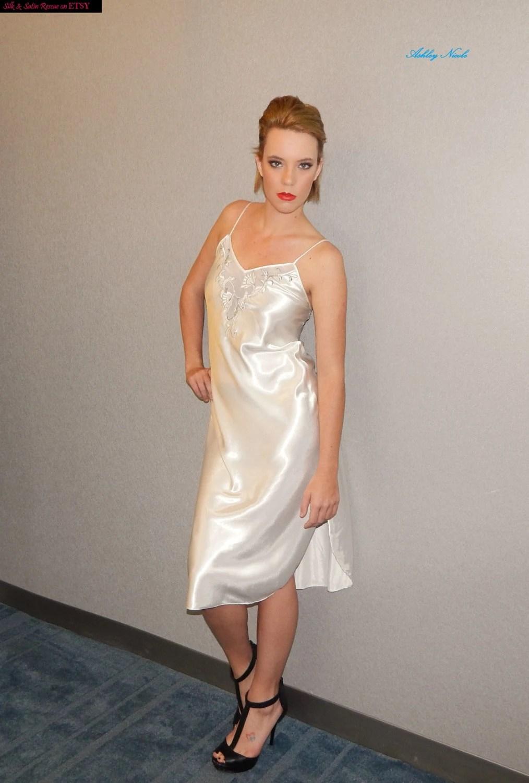 Nice Beautiful Bridal White Satin Nightgown by Natori for
