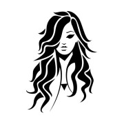 woman face with wavy long hair
