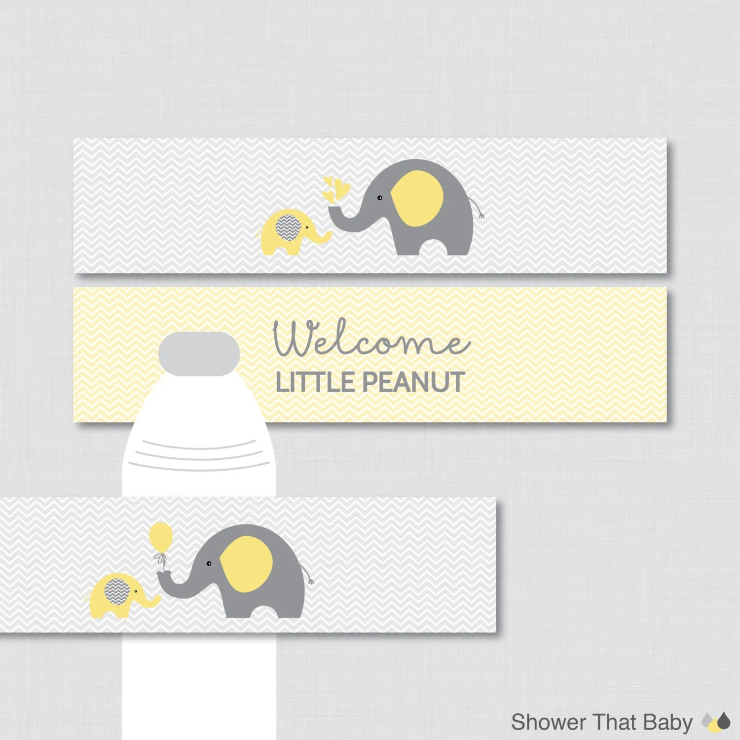 Elephant Water Bottle Labels Baby Shower Printable Yellow