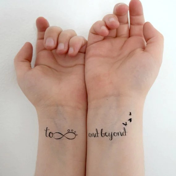 Temporary Tattoo - Quote Tattoo, To infinity and beyond, Tattoo Quote, Set of 2, Motivational, Positive