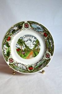 Vintage Florida Souvenir Plate Vintage Florida Hanging Plate
