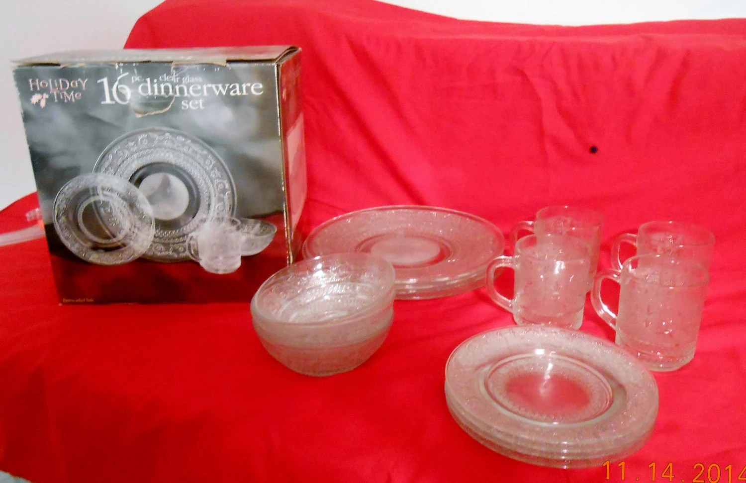 Vintage glass dinnerware holiday time pc clear set