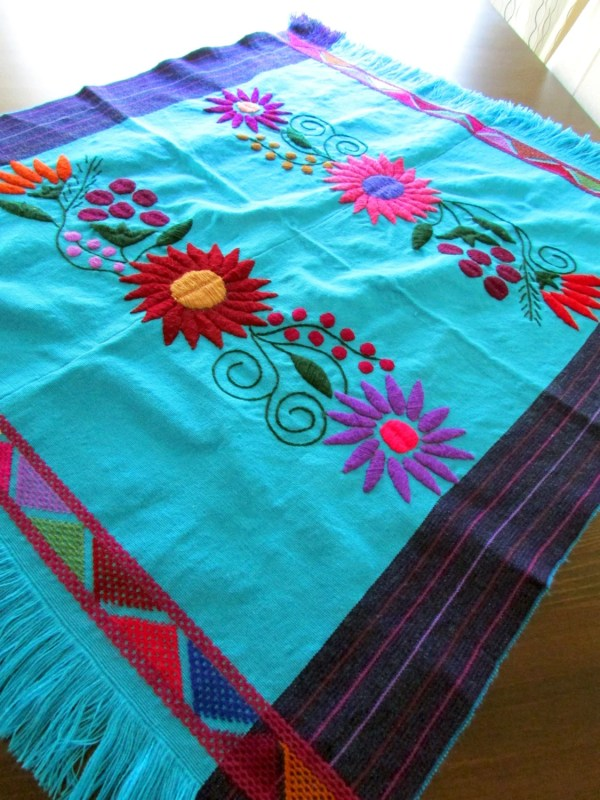 Mexican Tablecloth blue turquoise hand woven by