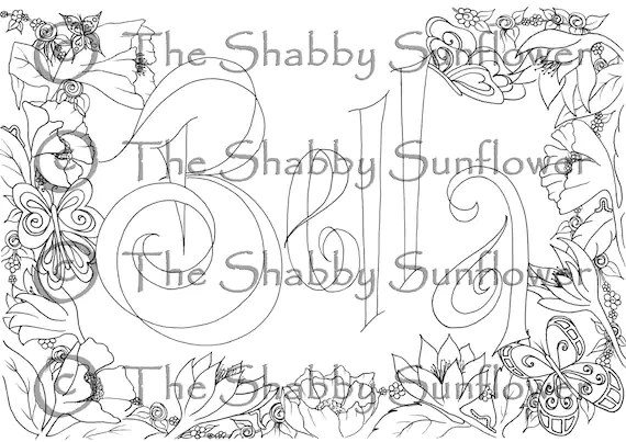 Coloring page girl's name 'Bella' in flower by