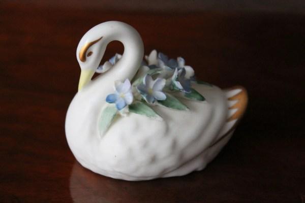 China Floral Swan Adderley Bone Signed 214