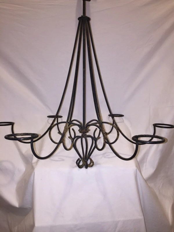 Primitive French Country Wrought Iron Candelabra Artisan