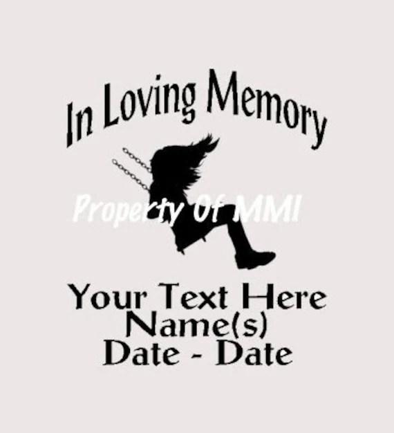 Items similar to In Loving Memory Girl Swing Style #5