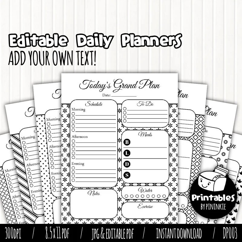 Printable Planner Pages, Daily Planner, Editable PDF