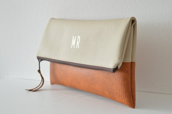 Colorblock monogrammed clutch purse, Bridesmaids gift, Foldover clutch bag