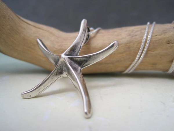 Starfish Pendant Large Silver Beach Inspired