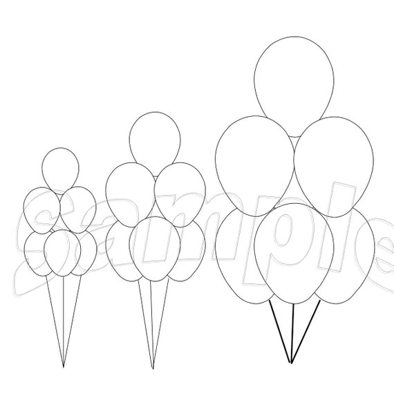 11 16 and 24 balloon bouquet templates in