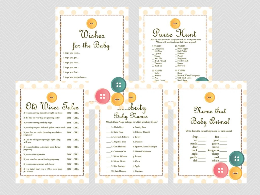 Cute As A Button Baby Shower Games Printables Gender Neutral