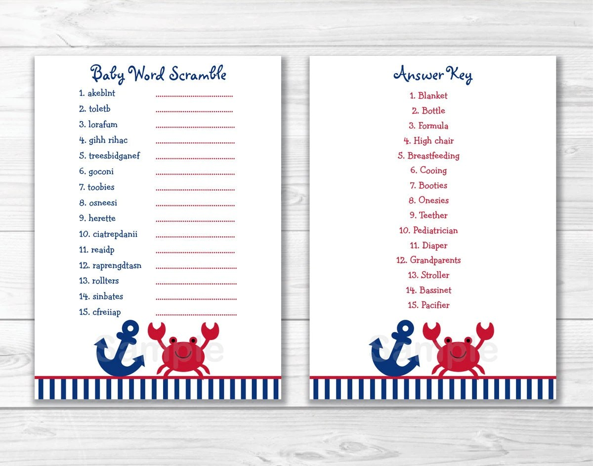 Crab Baby Shower Word Scramble Game Crab Baby Shower Baby