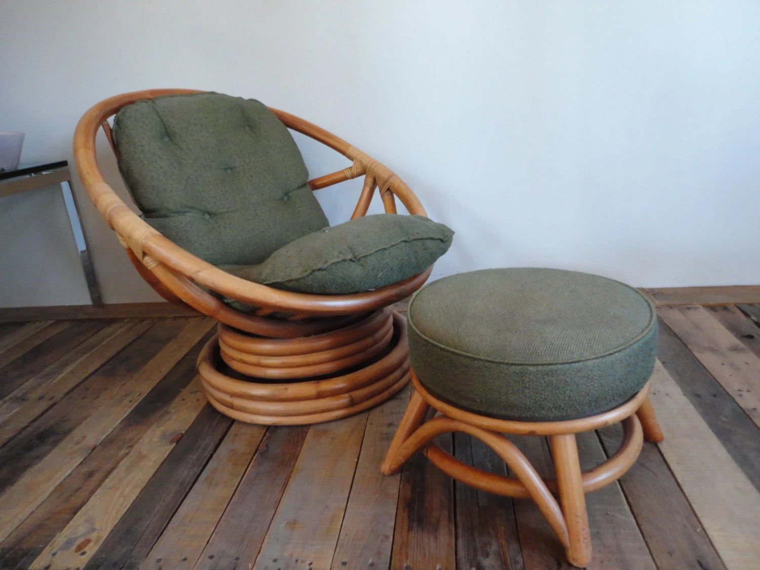 Wicker Swivel Chair Low Rider Swivel Rattan Chair With Ottoman Vintage 60s 70s Mid