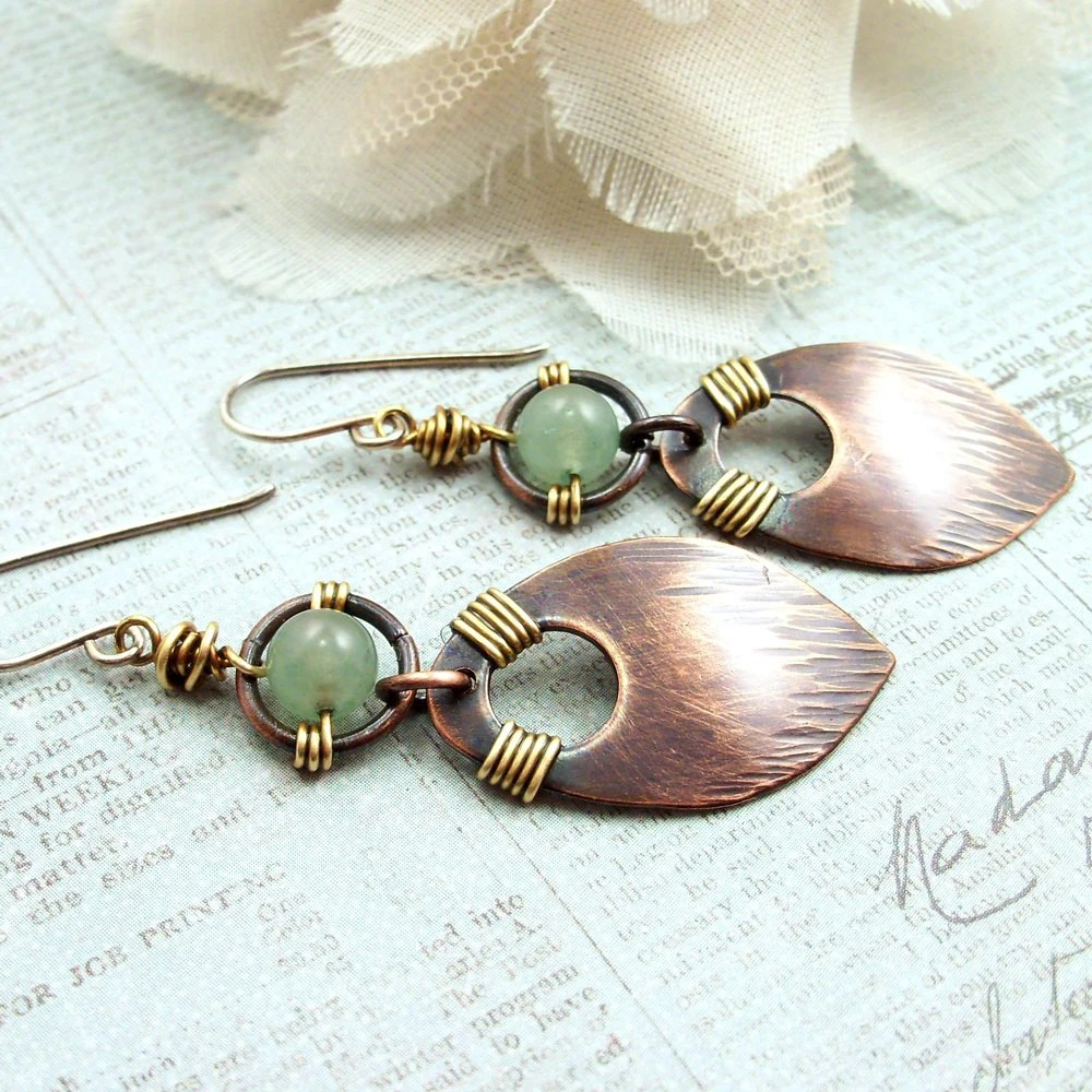 Wire Wrapped Jewelry Handmade Earrings Hammered Copper Dangle