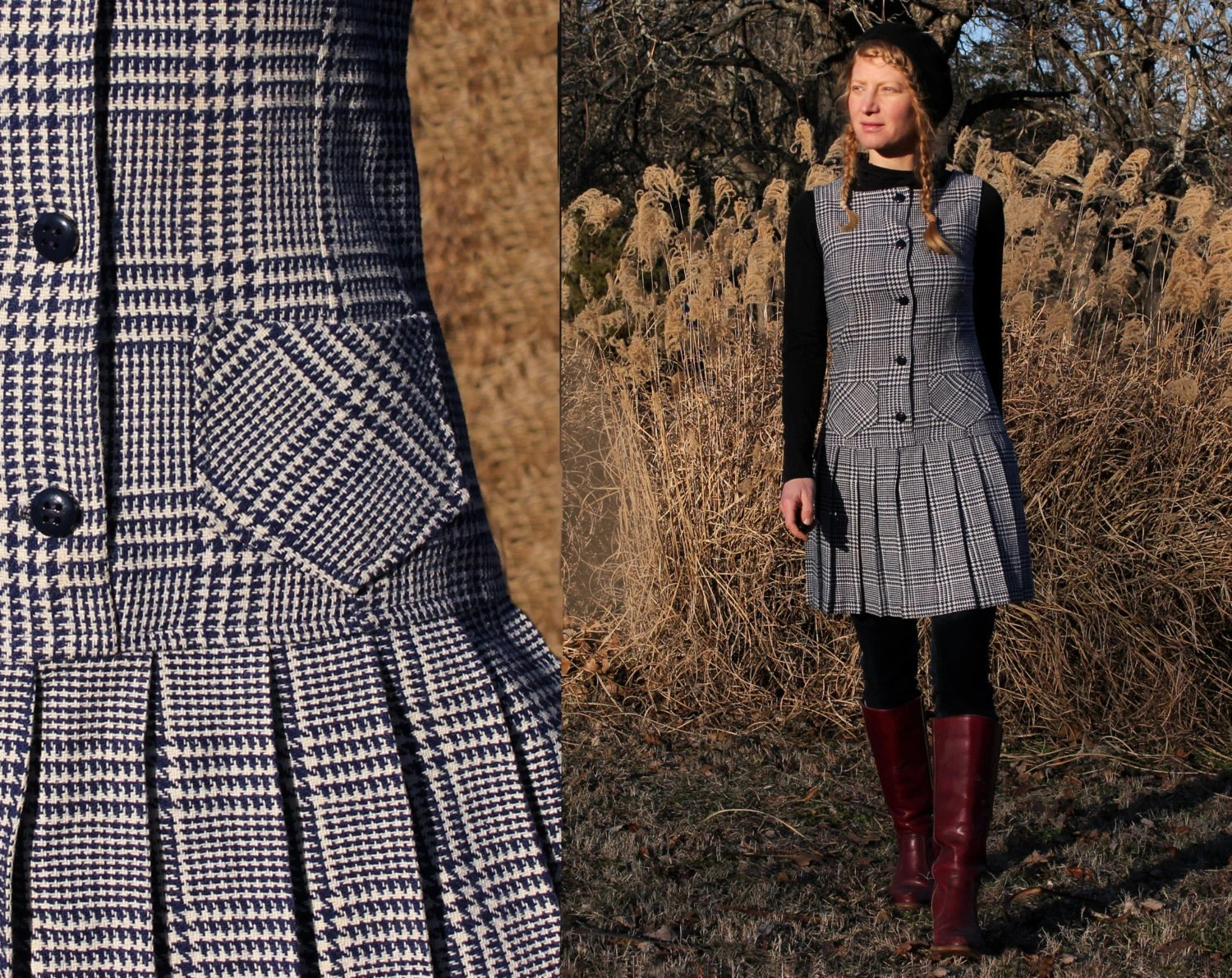 Vintage 60s Dress Plaid Wool Jumper Pleated Skirt Lined Womens