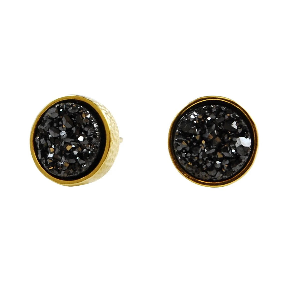 Druzy Stud Earrings in black drusy