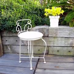 Vintage Vanity Chair Living Room Furniture Chairs White Metal Seat Powder Stool