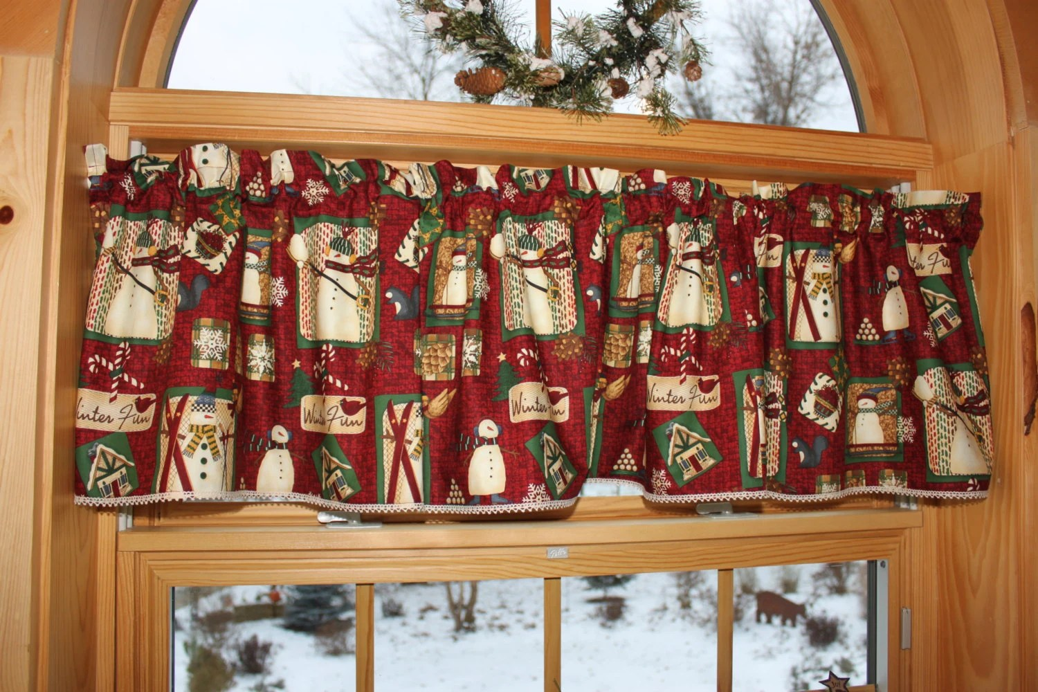 Christmas Country Primitive Folk Art Snowman Valance