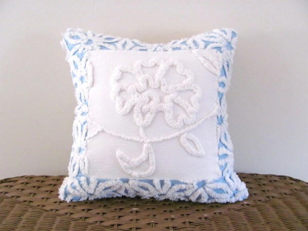 Blue Chenille Pillow Cover White Peony 14 X Inches Light
