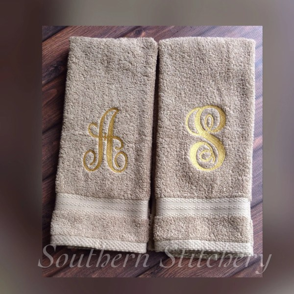 Monogram Hand Towels Guest Towel Initial Personalized