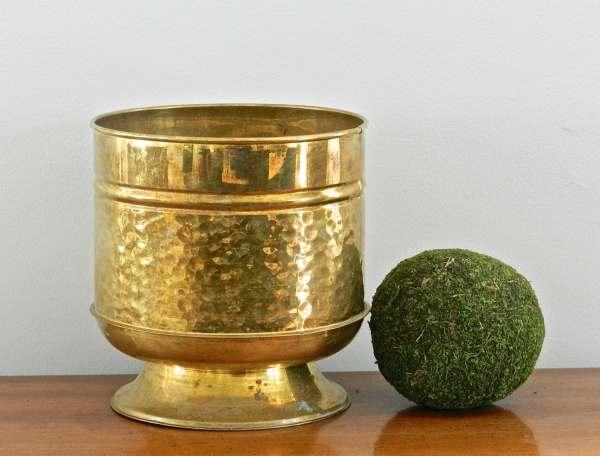 Vintage Brass Planter Flower Pot Vessel Urn Gold Metallic