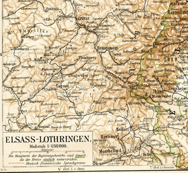 Alsace Lorraine map pre WWI map French German border map