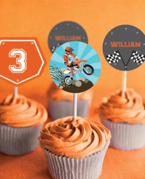 Dirt Bike Party Cupcake toppers Motorbike Party Motocross