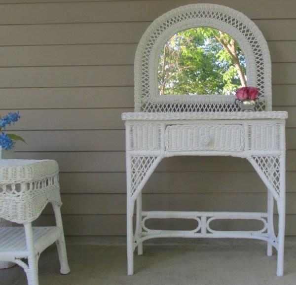 Wicker Vanity Table White Victorian Theprettyvintageshop