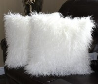 Faux Fur Mongolian White Pillow Cover 18 x 18 in. Set of 2