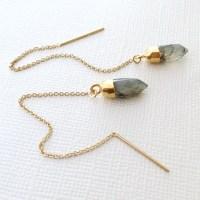 Labradorite Threader Earrings 14k Gold Filled Chain Threader