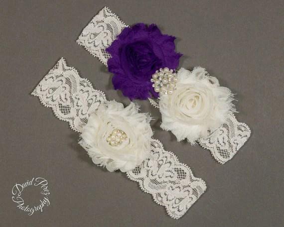 Items Similar To Wedding Garters Purple Bridal Garter
