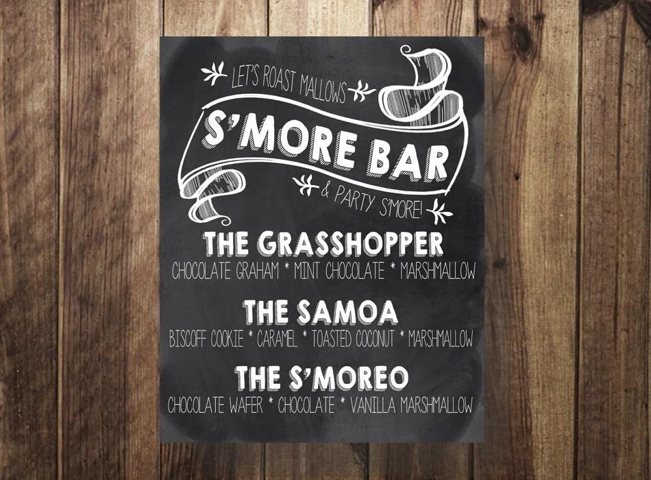Smore Bar Sign Smore Menu Outdoor Wedding Wedding Reception