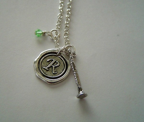 Clarinet Charm Necklace Personalized Antique Silver Wax Seal