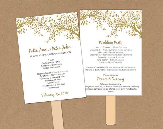 DIY Wedding Program fan printable Template folded gold tree and leaves 5x7  DIY Editable