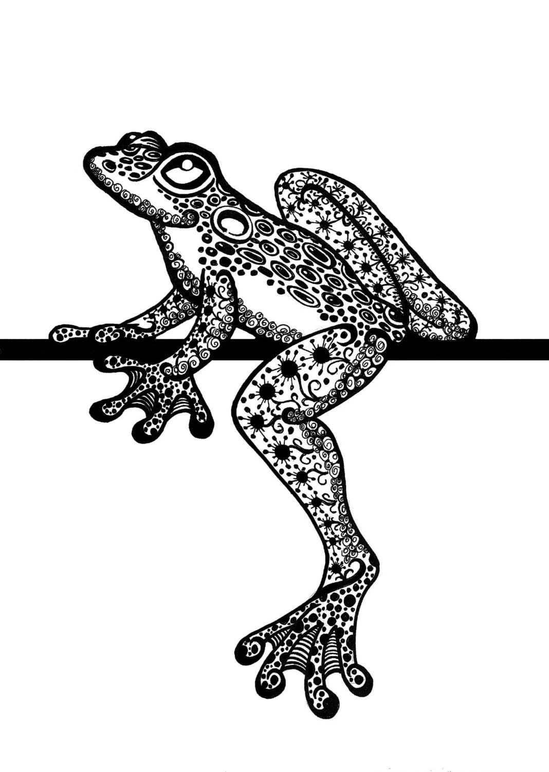 Items Similar To Zentangle Frog Tree Frog Zentangle