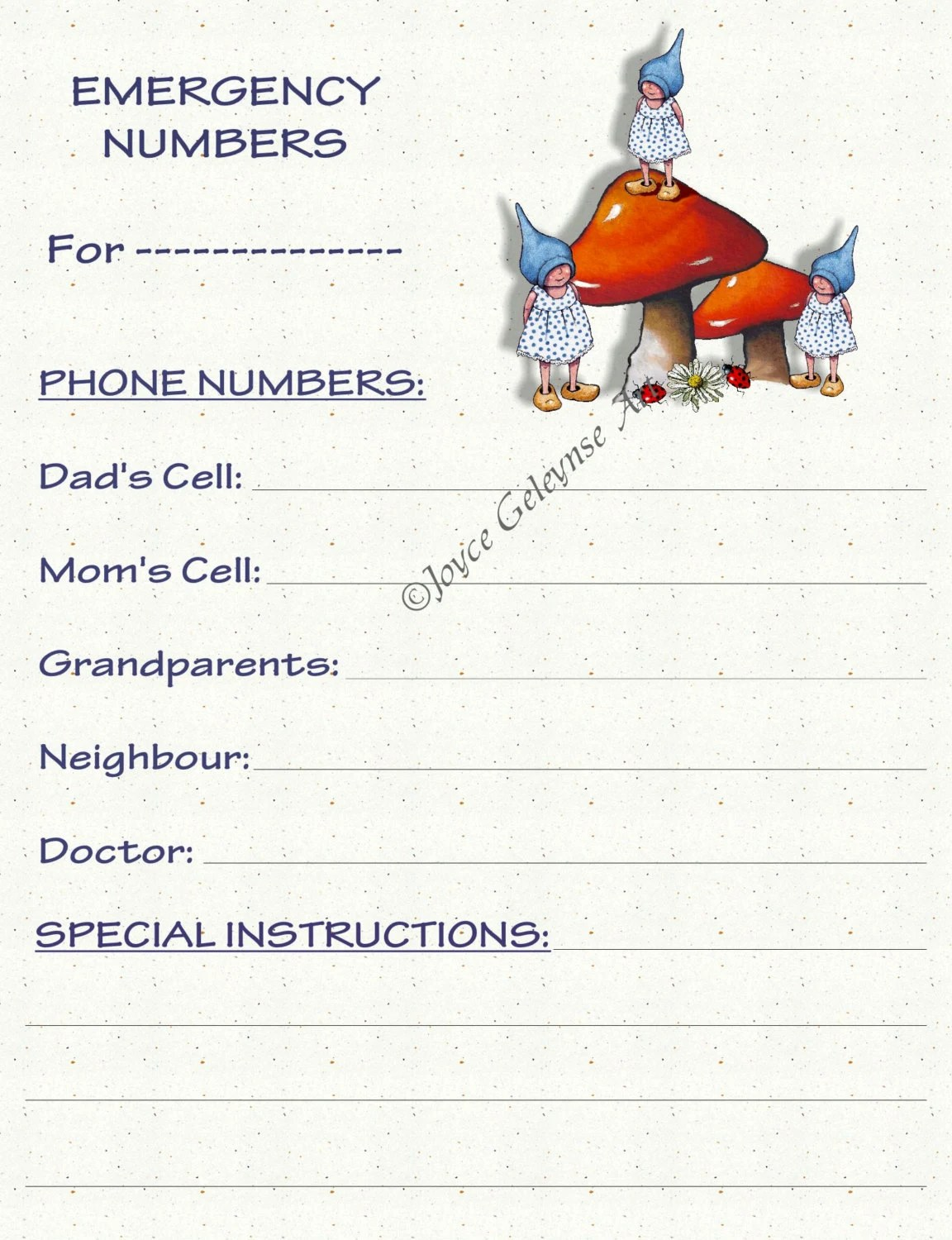 Emergency Information Printable Card Day By Freshairprintables